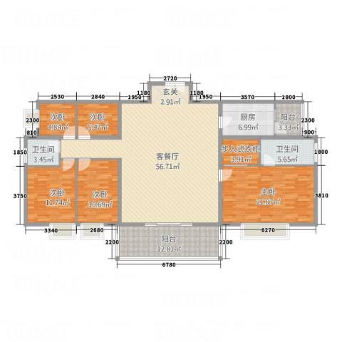 福星豪庭5室1厅2卫1厨188.00㎡户型图