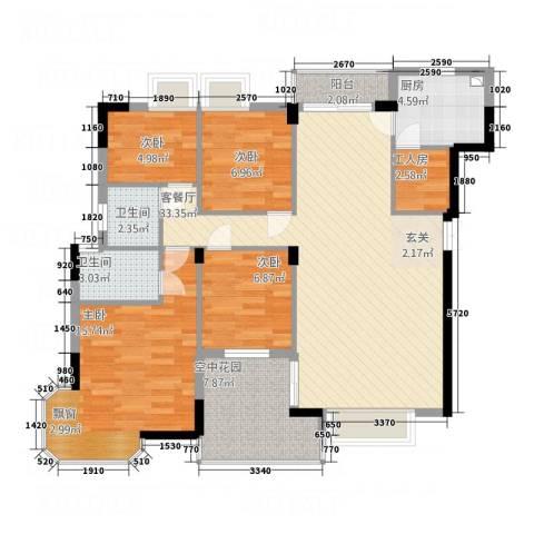 吉宁山庄4室1厅2卫1厨127.00㎡户型图