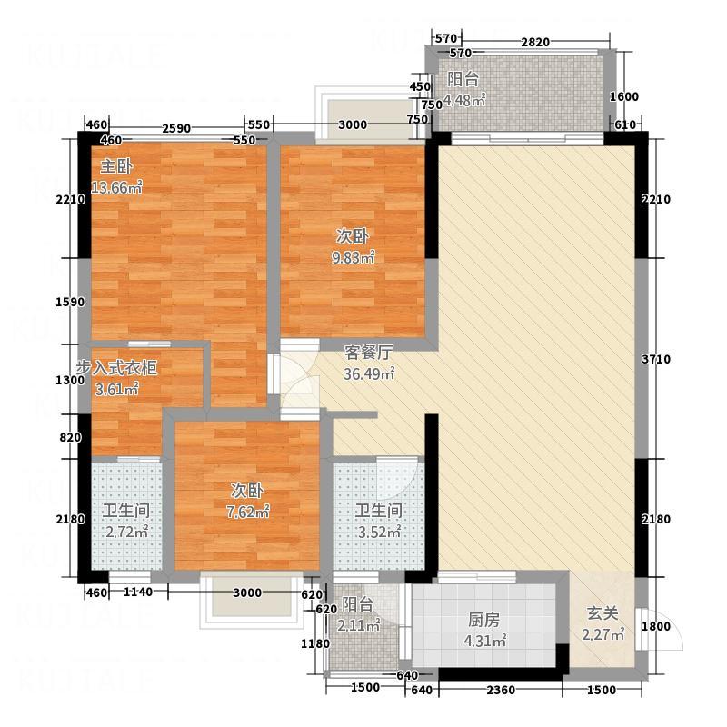 滨江・天乙广场117.80㎡A1户型3室2厅2卫1厨