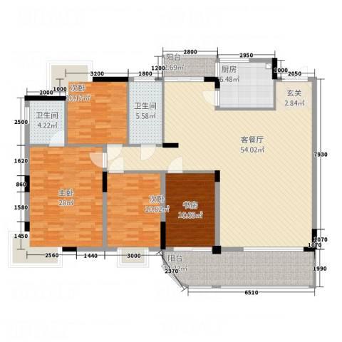 吉宁山庄4室1厅2卫1厨190.00㎡户型图