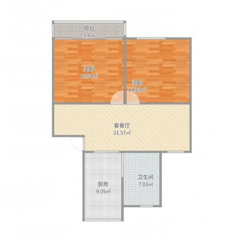 天赐苑2室1厅1卫1厨78.00㎡户型图