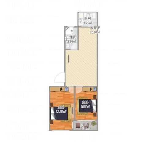 黄海小区2室1厅1卫1厨73.00㎡户型图