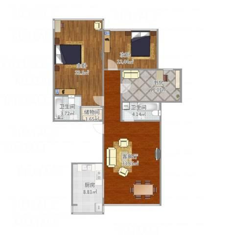 凤起都市花园3室1厅2卫1厨133.00㎡户型图