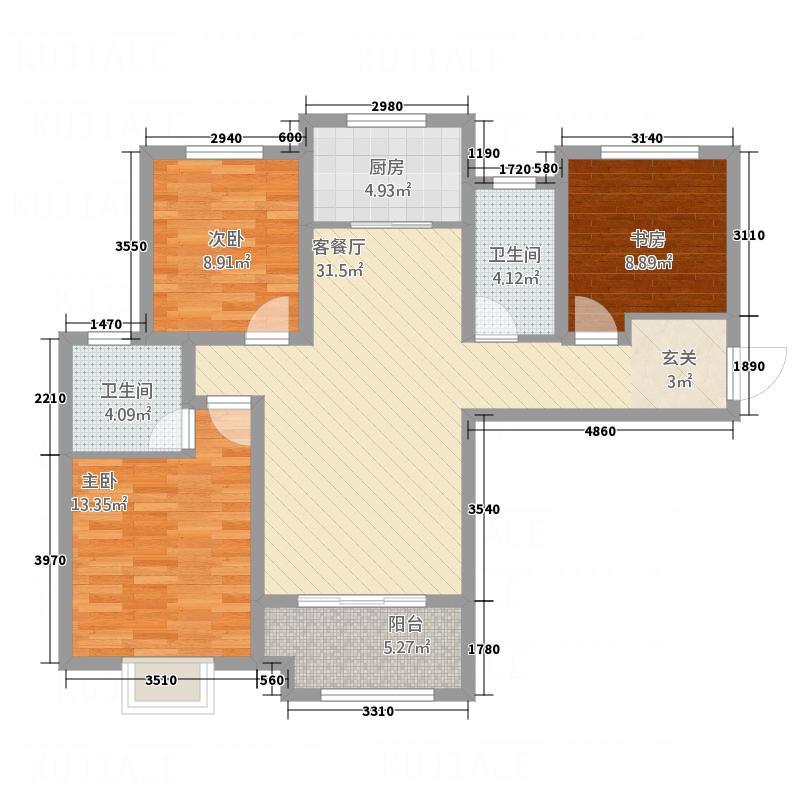 铭泰・瑞云佳苑117.00㎡户型3室2厅2卫1厨