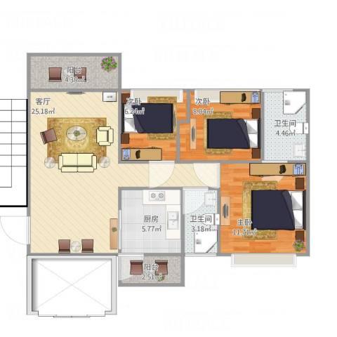 智博E区3室1厅2卫1厨97.00㎡户型图