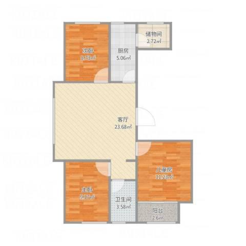 顺海城市花园3室1厅1卫1厨90.00㎡户型图
