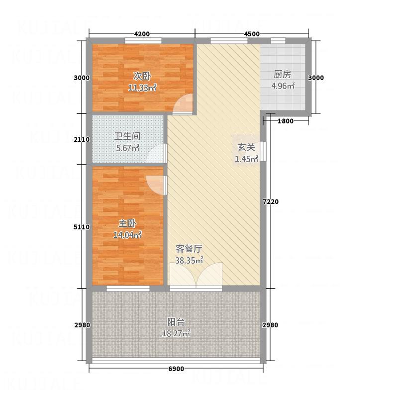 中天・紫金城16.00㎡B户型2室2厅1卫1厨