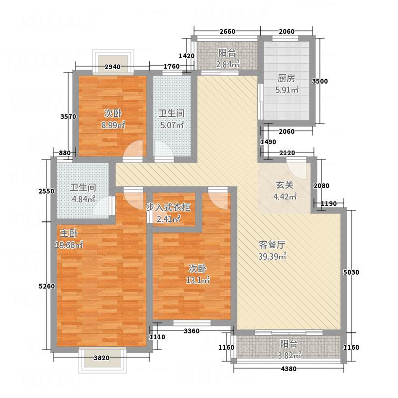丽锦・城西人家153.36㎡8#A户型3室2厅2卫1厨