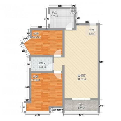 丽锦・城西人家2室1厅1卫1厨70.72㎡户型图