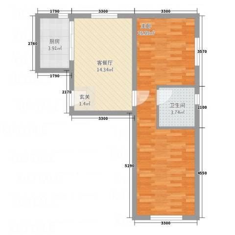 中天・紫金城1室1厅1卫1厨48.05㎡户型图