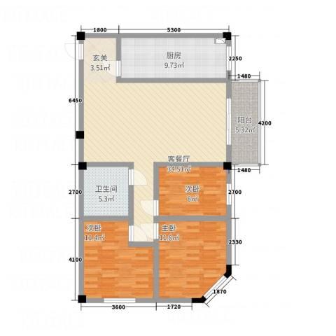 SOLO自由城3室1厅1卫1厨86.30㎡户型图