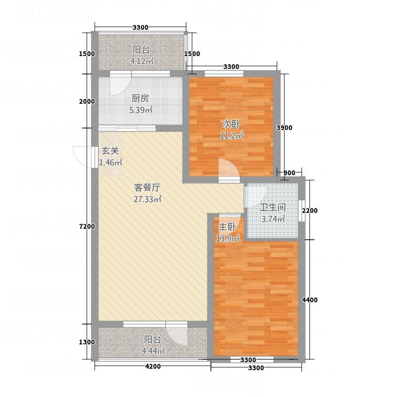 顺吉-上河湾单B新-高层D1户型2室2厅1卫1厨