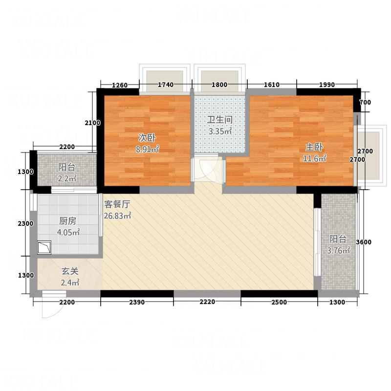 太阳雨家园84.00㎡3、4栋A户型2室2厅1卫1厨