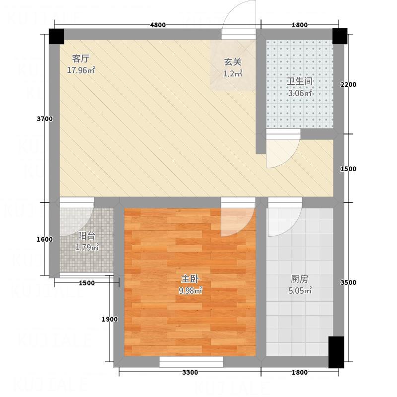 SOLO自由城56.70㎡百度空间户型1室1厅1卫1厨