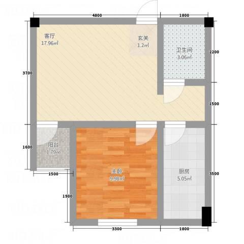 SOLO自由城1室1厅1卫1厨57.00㎡户型图