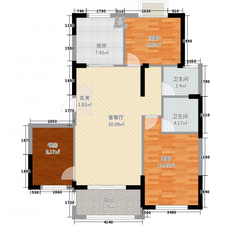 林城―兰乔圣菲116.10㎡兰乔圣菲5户型3室2厅2卫