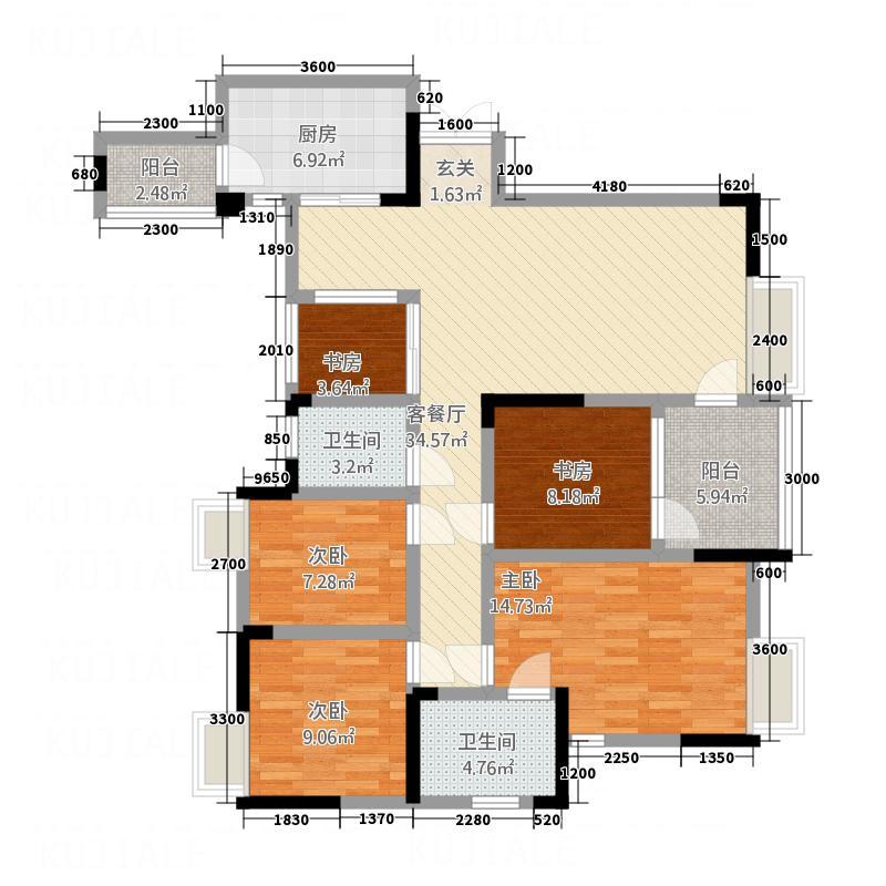 渝高香洲142.12㎡四期32号楼标准层3号户型4室2厅2卫1厨