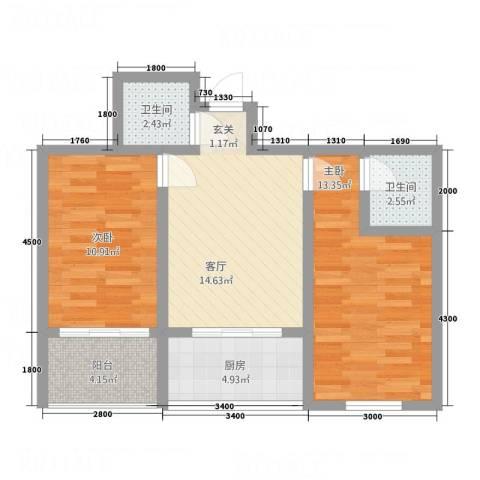 金典8号2室1厅2卫1厨52.94㎡户型图