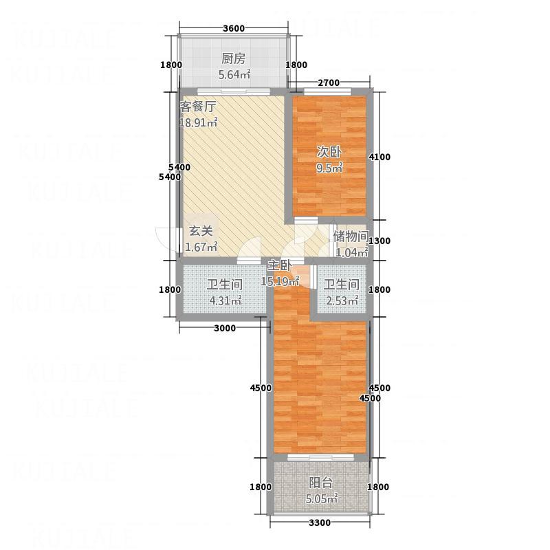 金典8号78.53㎡二单元A户型2室1厅1卫1厨