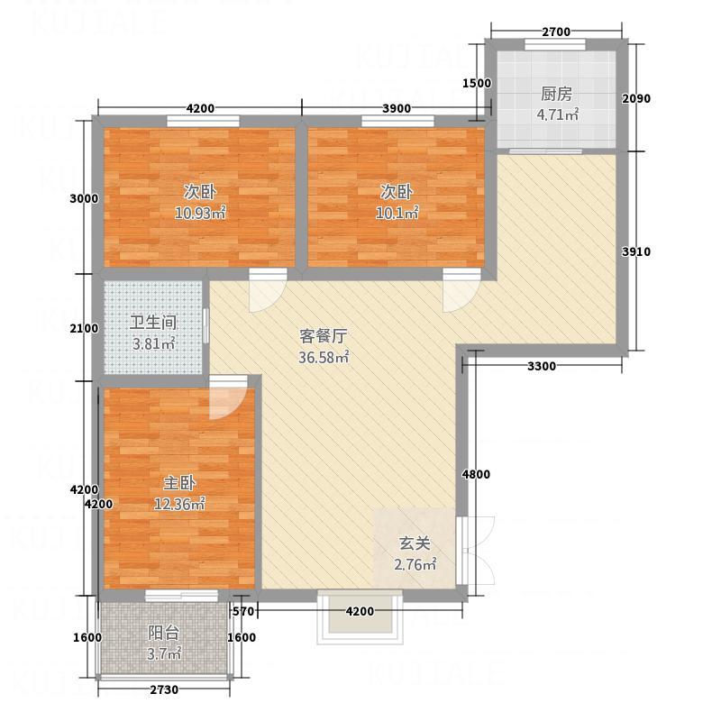 德恒世府苑12.31㎡1#楼B1户型3室2厅1卫1厨