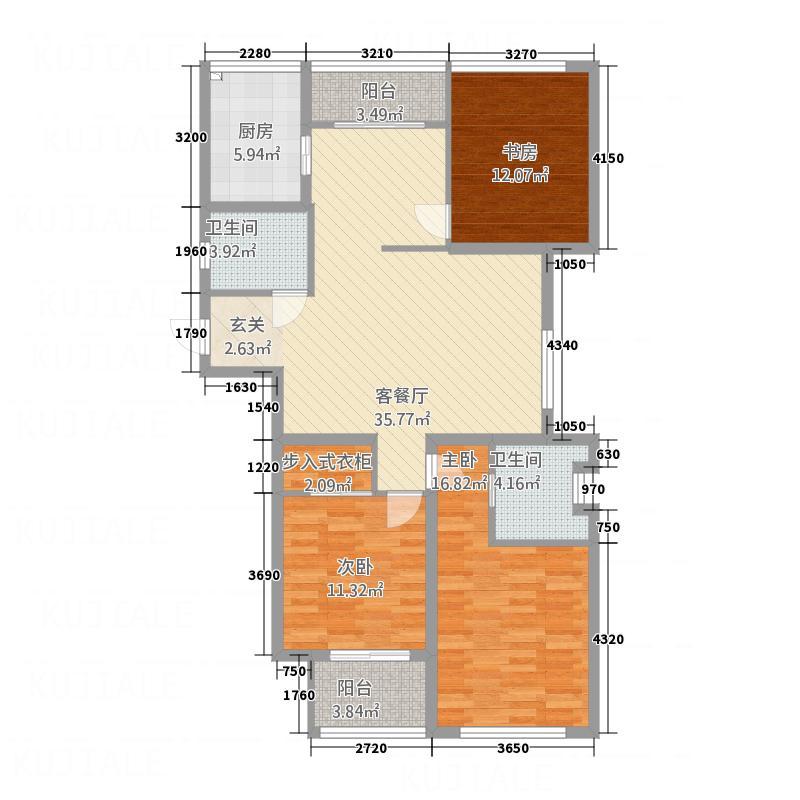 置信商务广场141.00㎡F户型3室2厅2卫1厨