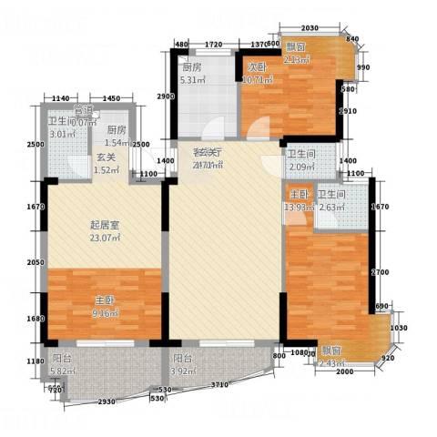 大陆商厦2室1厅3卫1厨135.00㎡户型图