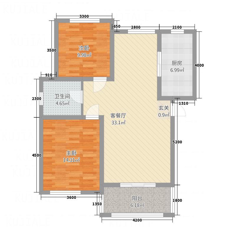 中凯景湖豪庭K1户型2室2厅1卫1厨