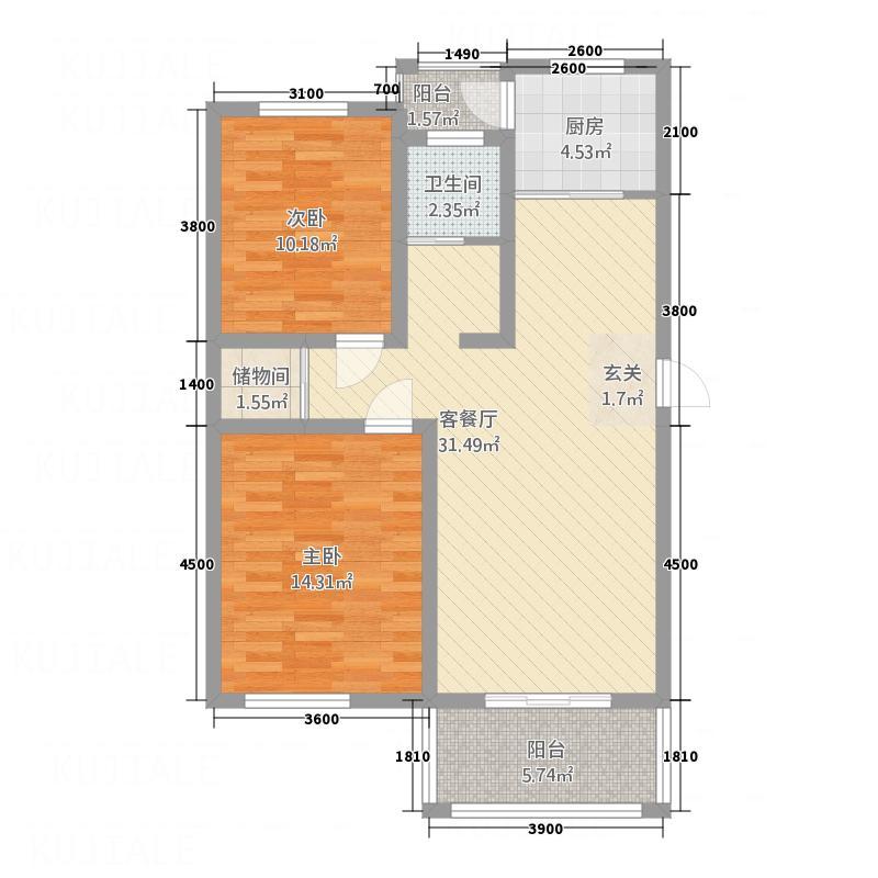 中凯景湖豪庭87.00㎡B户型2室2厅1卫1厨