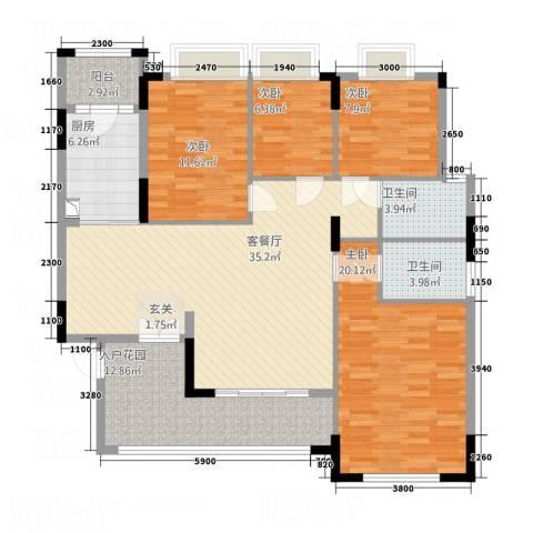 康城水郡4室1厅2卫1厨111.18㎡户型图