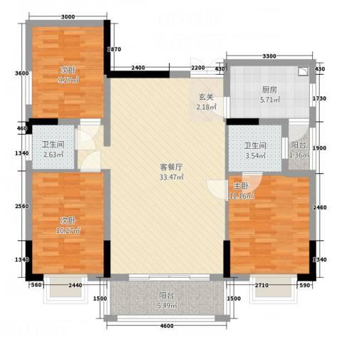 康城水郡3室1厅2卫1厨82.91㎡户型图