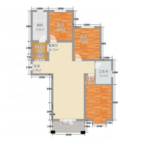 汇通新城3室1厅1卫1厨2313.00㎡户型图