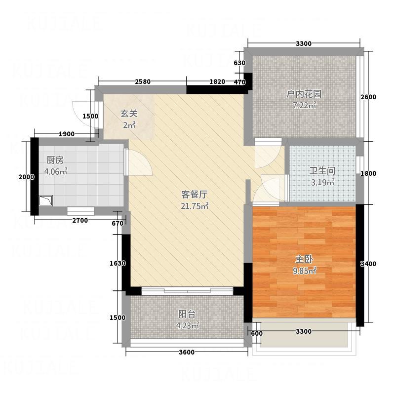 华阳嘉园62.50㎡1、2栋04户型1室1厅1卫1厨