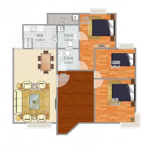 佳华世纪新城4室1厅2卫1厨126.00㎡户型图