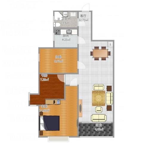 宇信凯旋城3室1厅1卫1厨103.00㎡户型图
