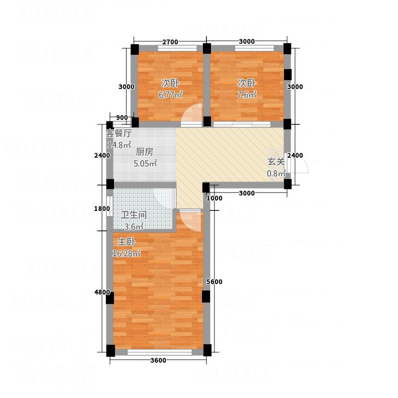 宜居家园2268.32㎡户型2室2厅1卫1厨