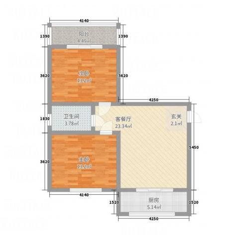 锦绣蓝湾2室1厅1卫1厨92.00㎡户型图