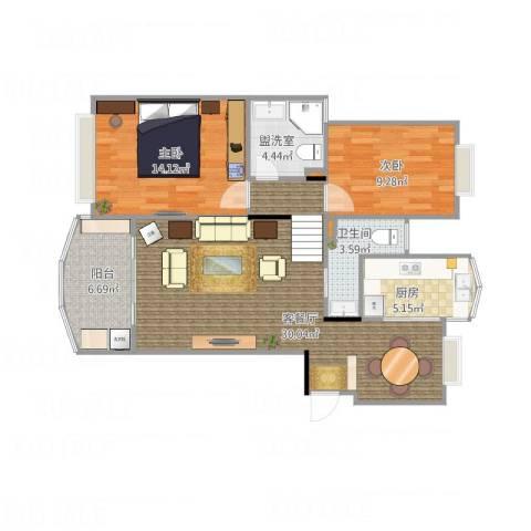 新明星花园一期2室2厅1卫1厨100.00㎡户型图