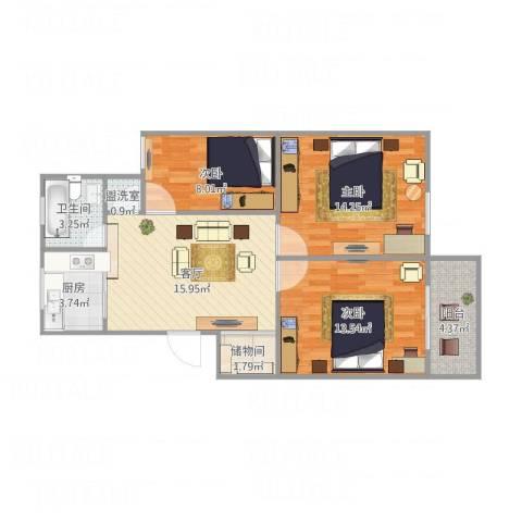 新苑小区3室2厅1卫1厨89.00㎡户型图