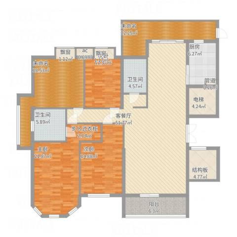 半山御景3室1厅2卫1厨230.00㎡户型图