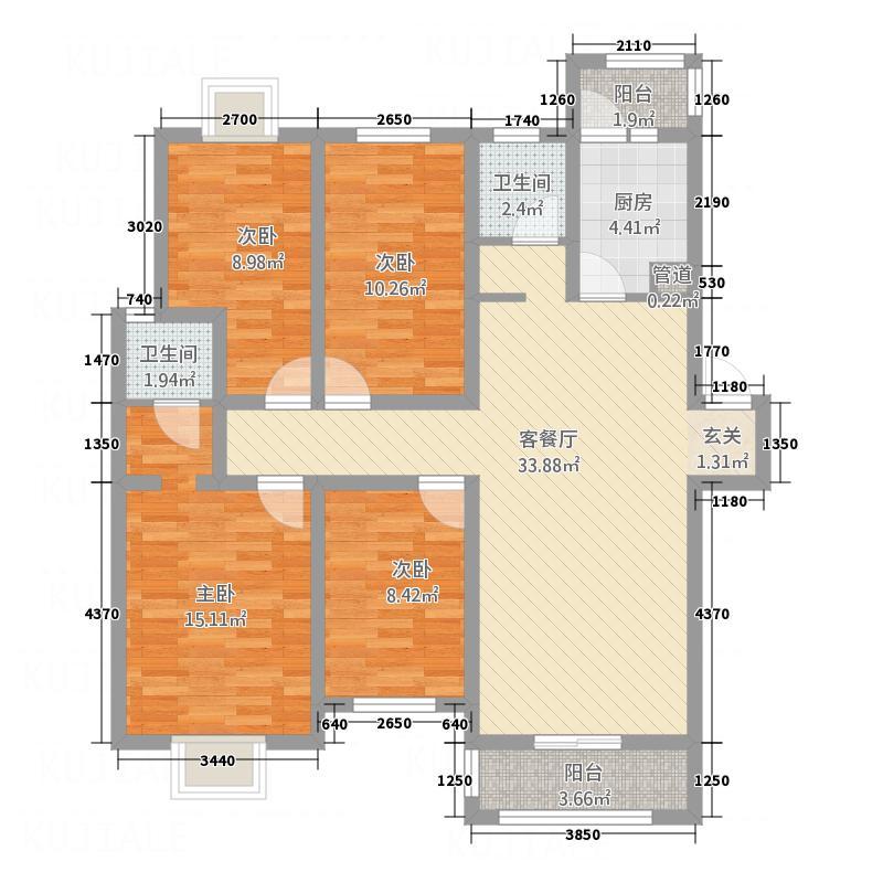 金顶双苑133.38㎡户型4室2厅2卫1厨
