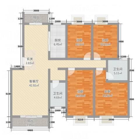 福星豪庭4室1厅2卫1厨152.00㎡户型图