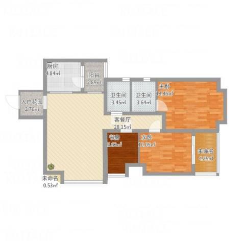 招商花园城3室1厅2卫1厨117.00㎡户型图