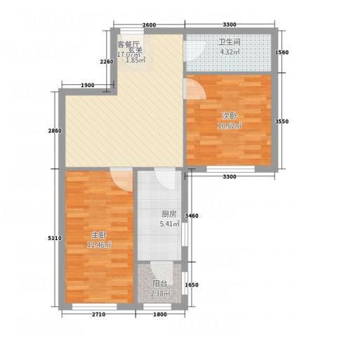 中天・紫金城2室1厅1卫1厨81.00㎡户型图