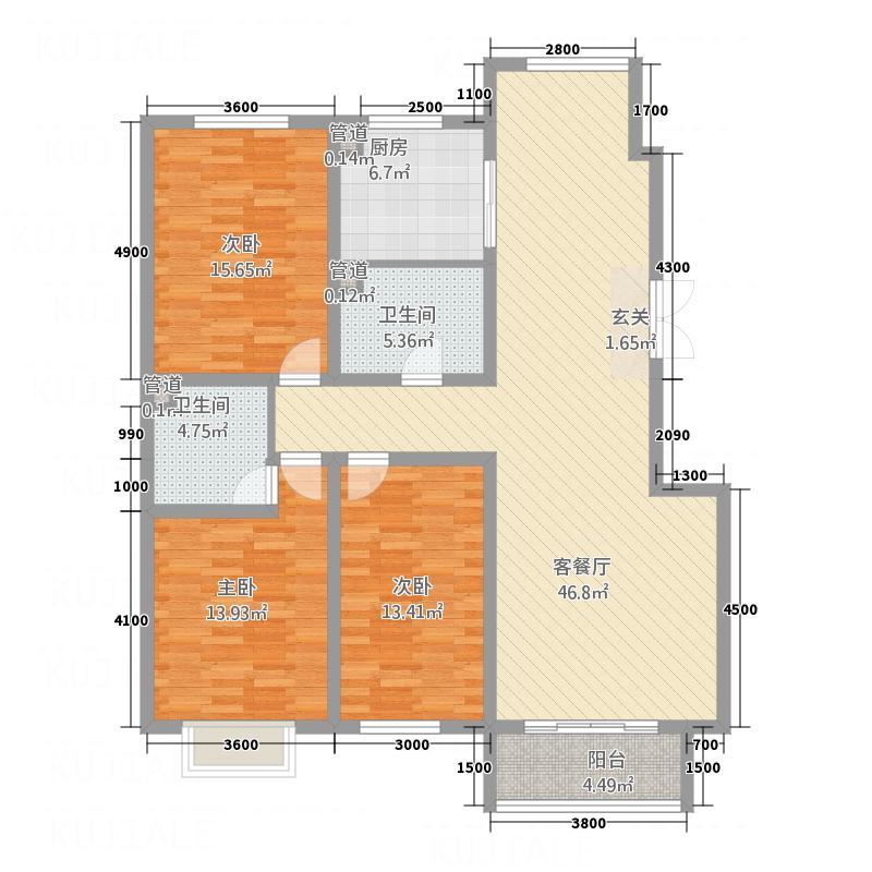 丽园西区107户型3室2厅2卫1厨