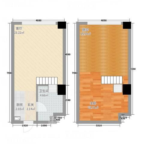凯宾国际1室1厅1卫0厨80.00㎡户型图