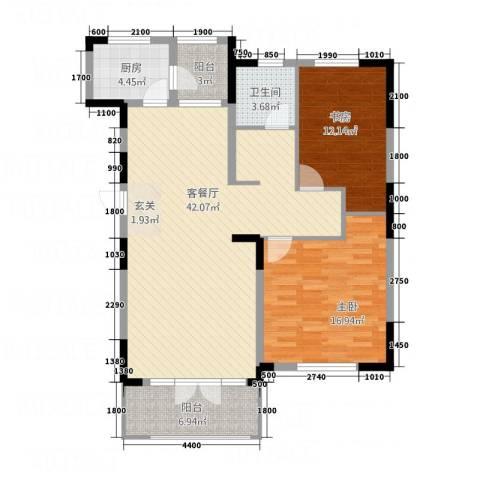 红星海青屿蓝2室1厅1卫1厨125.00㎡户型图