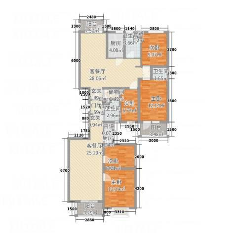 北晨峰景5室2厅3卫2厨185.00㎡户型图