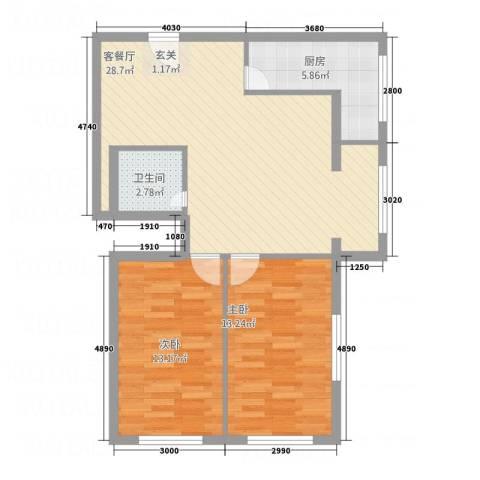中天・紫金城2室1厅1卫1厨63.75㎡户型图