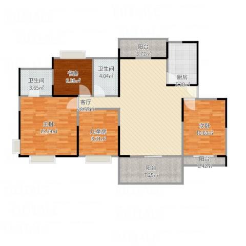 四会市翡翠山河4室1厅2卫1厨128.00㎡户型图