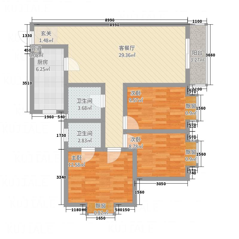 天秀锦地112.10㎡3#B户型3室2厅1卫1厨